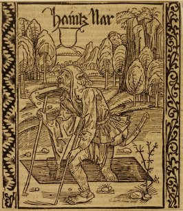 "The Senile Fool: woodcut illustration for the original edition of the ""Narrenschiff"" (Ship of Fools), taken from the Latin reprint edition Basel"