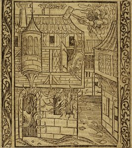 "Fortunate Fool: woodcut illustration for the original edition of the ""Narrenschiff"" (Ship of Fools), taken from the Latin reprint edition Basel"