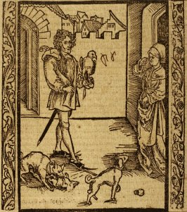 "Falcon Fool: woodcut illustration for the original edition of the ""Narrenschiff"" (Ship of Fools), taken from the Latin reprint edition Basel"