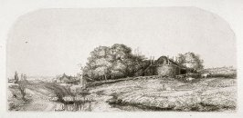 Landscape with hay barn and a flock of sheep (Copy)