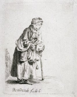Beggar woman leaning on a stick (Copy)