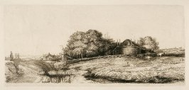 Landscape with a hay barn and a flock of sheep (Copy)