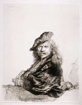 Rembrandt leaning on a stone sill (Copy)