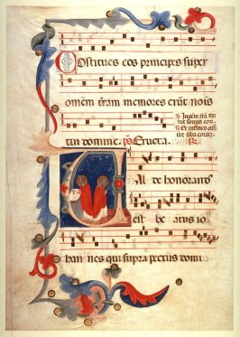 Recto:Saints Celebrating Mass on a page of music from an unidentified GradualVerso: Page of music