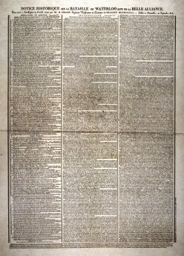 """Historical Notice of the Battle of Waterloo, also called the """"Belle Alliance"""""""
