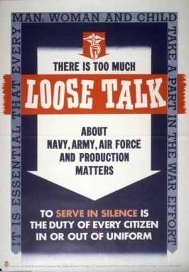There Is Too Much Loose Talk - World War II Poster