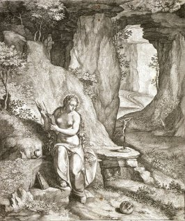 {Mary Magdalen in a rocky landscape]