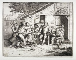 [Peasants gathered in front of a cabin]
