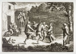 [Peasants dancing in the country near a house]