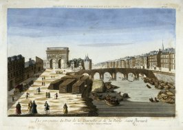 (One from a Series of 56 Prints): Vue Perspective du Pont de la Tournelle et de la Porte Saint Bernard