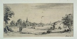 Landscape with village in background