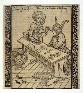 """The Adultress: woodcut illustration for the original edition of the """"Narrenschiff"""" (Ship of Fools), taken from the Latin reprint edition Basel"""