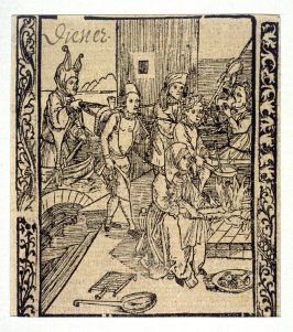 "Servant Fools: woodcut illustration for the original edition of the ""Narrenschiff"" (Ship of Fools), taken from the Latin reprint edition Basel"