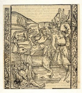 "Borrowing Fools: woodcut illustration for the original edition of the ""Narrenschiff"" (Ship of Fools), taken from the Latin reprint edition Basel"