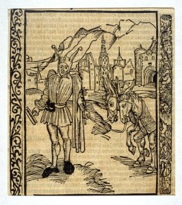 """Wit Fool: woodcut illustration for the original edition of the """"Narrenschiff"""" (Ship of Fools), taken from the Latin reprint edition Basel"""