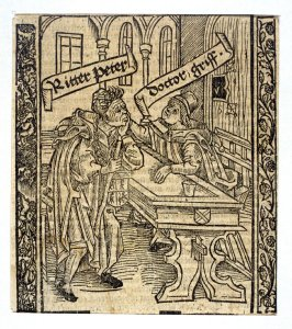 """Knight Peter and Doctor Griffon: woodcut illustration for the original edition of the """"Narrenschiff"""" (Ship of Fools), taken from the Latin reprint edition Basel"""