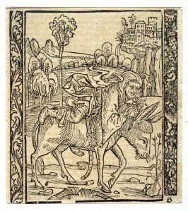 "The Hurrying Fool: woodcut illustration for the original edition of the ""Narrenschiff"" (Ship of Fools), taken from the Latin reprint edition Basel"