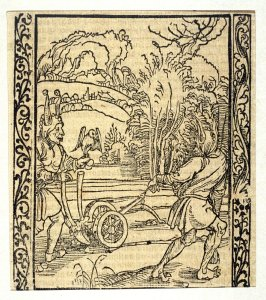 "The Plough Fool: woodcut illustration for the original edition of the ""Narrenschiff"" (Ship of Fools), taken from the Latin reprint edition Basel"