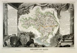 Departement du Gard [Map of Southern France, Occitaine region]