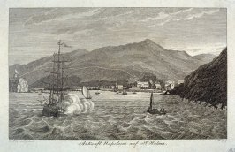 A ship of the line fires its cannons off Saint Helena's Island