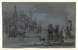 Recto:Ice Skating SceneVerso: Sketch with Figures,Boat, Horse