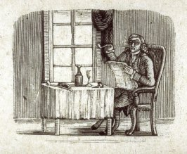 Interior, a gentleman reads his paper with his wine and his pipe.