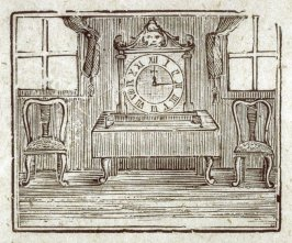 Interior with a very large clock.