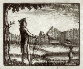 A man stands before a sundial in a gathering storm.