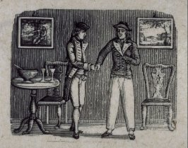 A gentleman and a sailor shake hands next to a bowl of grog