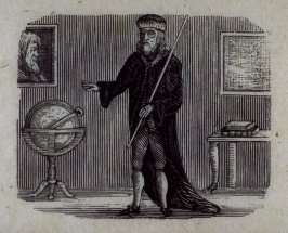 Interior, a robed gentleman gestures at a globe.