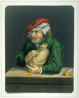 The Miser and his bag of gold.