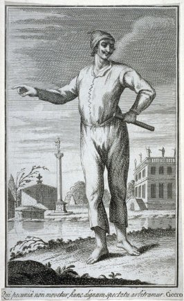 A man in a Classical Landscape gestures