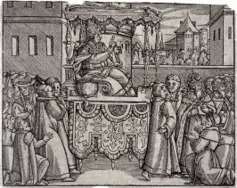 The Pope carried by servants