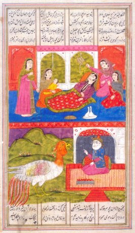 Birth of Rustem, a page from a manuscript of the Shah Namah