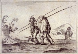 Two men with spears