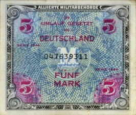 Allied Military Authority Five Mark Note, Series 1944