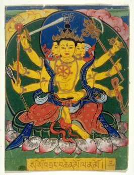 The Goddess Mahapratisara (Eight-armed deity with four faces), image for a card of empowerment in a Tibetan ceremony