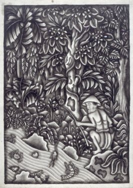Untitled (fisherman in a forest)