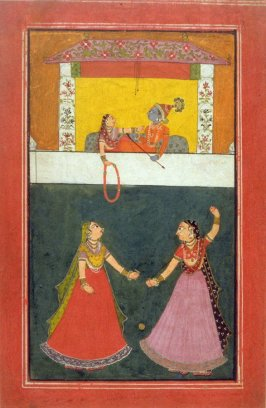 Radha and Krishna on a Balcony, Two Women Dancing
