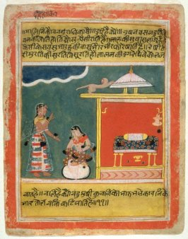 Maidservant in Conversation with Her Mistress, from a series of illustrations for the Rasikapriya