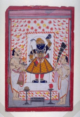 Two Priests Worshipping an Image of Krishna Shri Nathji