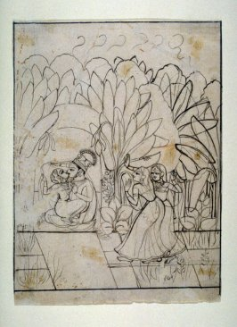 Krishna and Radha Embracing in a Bower