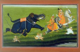 Maharana of Mewar Chased by an Elephant