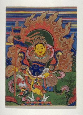 The God Vaishravana (Militant deity with flaming halo), image for a card of empowerment in a Tibetan ceremony