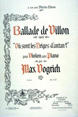 """Ballade de Villon"" composed by Max Vogrich"