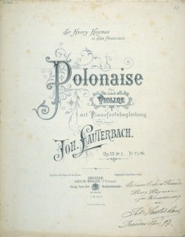 Polonaise for Violin composed by Johannes Lauterbach