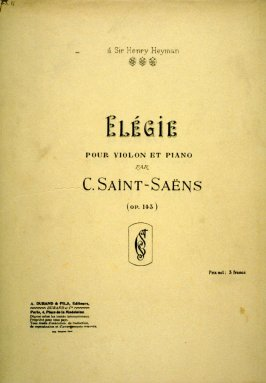 Elegie for Violin and Piano composed by Saint-Saëns