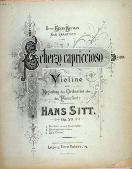 Scherzo Capriccioso for Violin and Piano by Hans Sitt