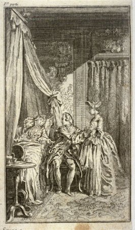 [interior scene with a man taking a baby from a servant's arms and handing it over to the resting mother]