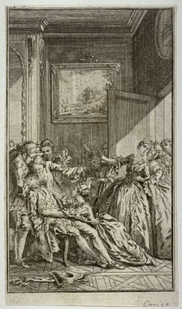 [interior scene with a crowd of exited people surrounding a fainted man hanging back in a chair]